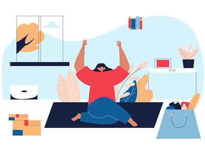 Yoga vectorart app woman flowers character 2d illustraion vector people flat illustration