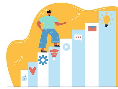 Career ladder background app character 2d illustraion vector people flat illustration