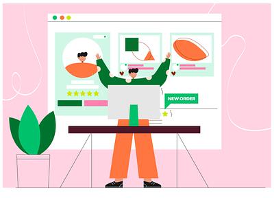 fiverr freelancer background app 2d illustration character illustraion vector people flat illustration