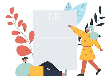 Brief app illustration 2d character illustraion vector people flat illustration