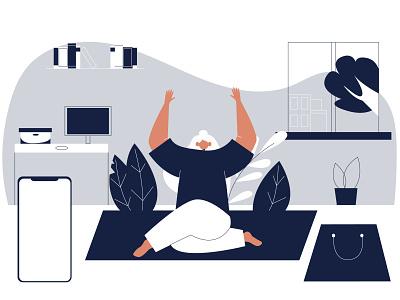 relax woman character 2d illustraion vector people flat illustration