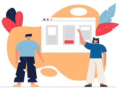 Analyze Your Content Competitors woman branding business vector people 2d illustraion flat illustration