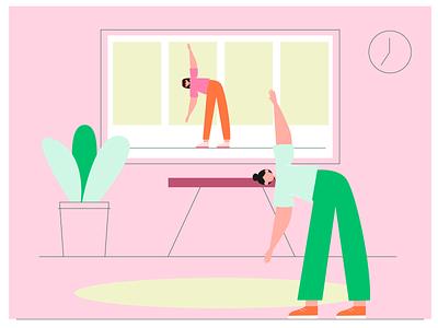 zoom workout vectorart app woman 2d character vector illustraion people zoom flat illustration