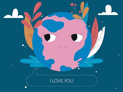 love of the planet planet flowers app woman people vector illustraion flat illustration
