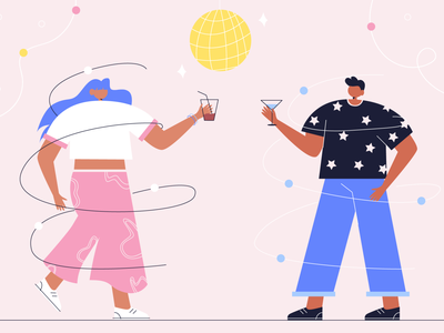 Dancing adobe illustrator vector art 2d character nightlife covid party data dance relax vector people illustraion flat illustration