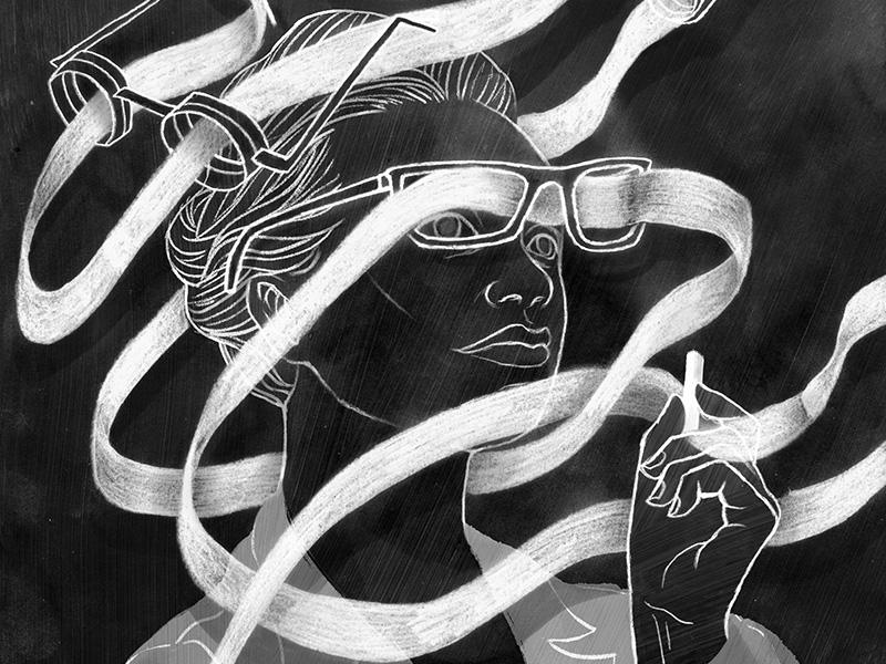 Chalkboard Traveler drawing monochrome eyes hand drawn hand art illustration black and white line figurative face woman
