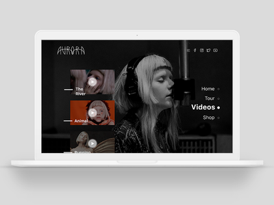 Aurora - Web Concept user interface minimal video interface design musician music singlepage aurora web ui ux