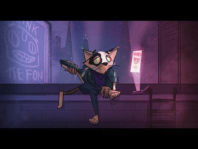 Lazer Cat is at it again cyberpunk cat illustration kids book character design