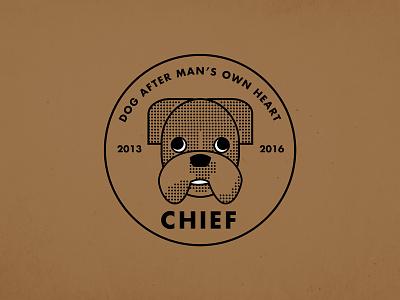 For a friend who lost his friend chief logo half tone dog
