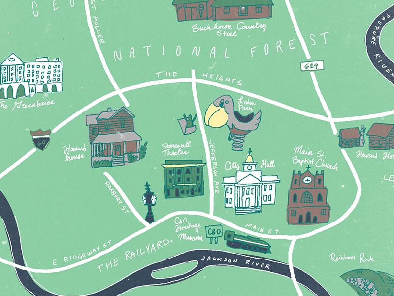 Hand-drawn map of my hometown virginia illustration hand drawn map