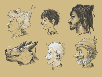 Faces on faces illustration character