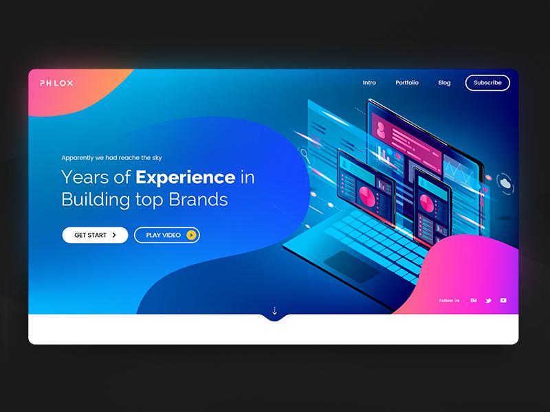 web design agency creative template phlox website builder website typogaphy liquid flat design illustrative mac tablet ux ui agency header design webdesign firstshot