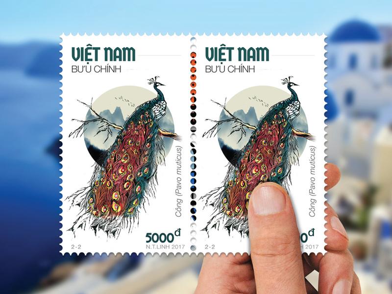 STAMP | Vietnamese Wood Cut Peacock