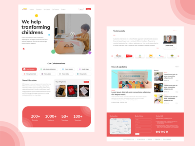 Kids Education Website dribbble dribbble best shot kids book programme learning education website kids ux landing page design landing page ui web branding minimal design