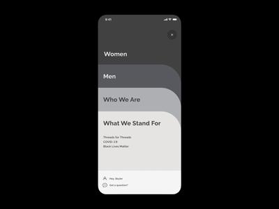 FIGS – Mobile Menu Concept web design color animation visual protopie ecommerce design interaction navigation menu mobile menu typography motion uiux ui