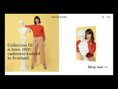 Frances Austen - Homepage Animation fashion rotate layout design ux ui web design animation homepage e-commerce