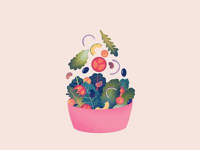 Salad food illustration avocado spinach kale beans olives tomato lettuce vegan healthy salad procreate illustration