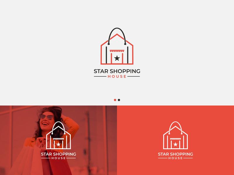 Logo Design-Star Shopping House lineart logo lineart minimalist logo minimal busniess cloth girl fashion design fashion brand clothing brand corporate branding logo branding trending graphicdesign logotype logo mark modern logo brand brand identity
