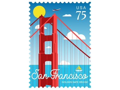 SF Golden Gate Bridge Illustration stamp post stamp vintage golden gate bridge san francisco