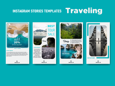 INSTAGRAM STORIES TEMPLATES blue colors art logo stories travel post instragram bali vector illustration design color