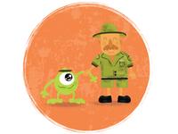 Mike Wazowski and Safari man