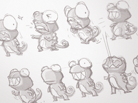 Sketch Candymeleon iOS game sketch ios game candymeleon chameleon character draft