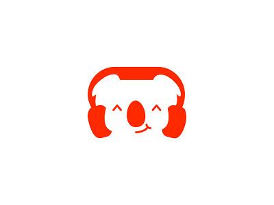 Koala and Headphone Logo logo koala headphone