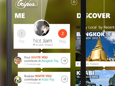 TripUs app windows phone travel ui mobile