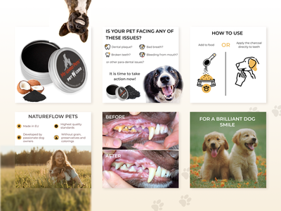Animal tooth powder product cards for Amazon cards dog amazon product card graphic design