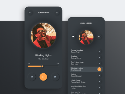 Dark mode design music app app design app
