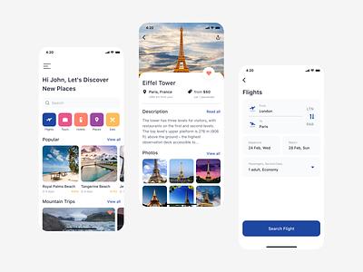 Travel App Concept flight app flights ticket booking travel ux flat app design app figma ui design