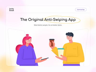 Dating App Design Concept coffee feelings lovers love dates datingapp dating homepage desktop flat web vector illustration figma app design app ui design