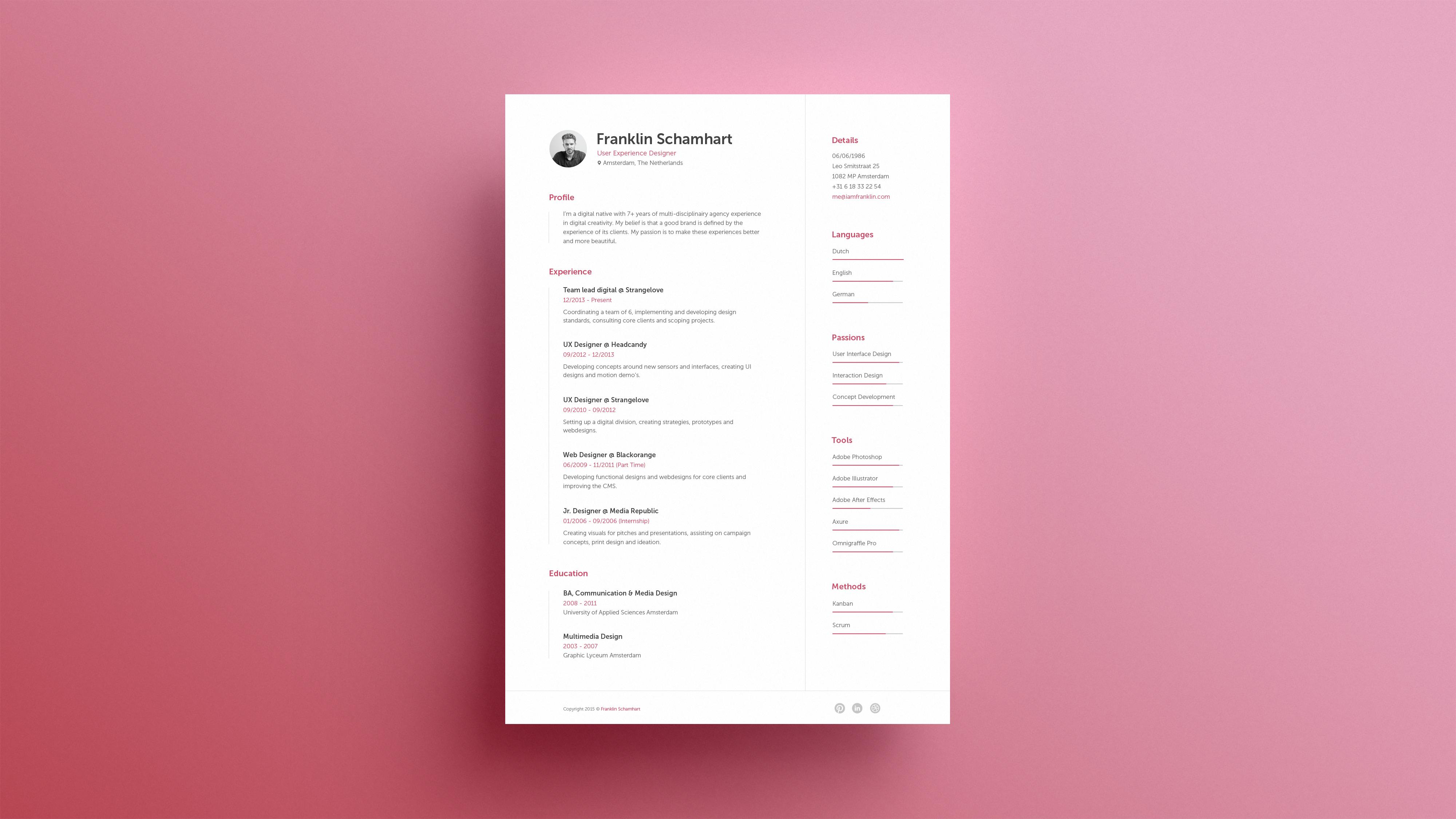 Dribbble Resume by Franklin Schamhart