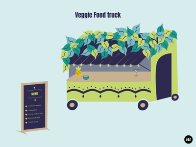 Delicious veggie food truck dribbbleweeklywarmup art web artwork creative figma digital illustration digital art graphic art illustration colorful colors color