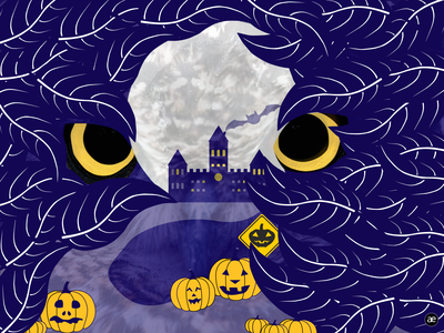 Spooky castle road texture vector art purple night illustration art beware eyes castle house graphic graphic design dark pumpkin dribbbleweeklywarmup digital illustration spooky halloween digital art illustration figma