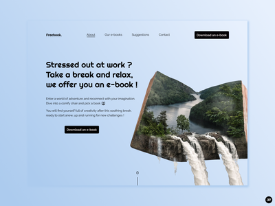 Inspiration e-book | Landing page web design webdesign ux ui ux ui ui design modern minimal layout interface daily ui clean work book homepage desktop design mockup landing page blue figma