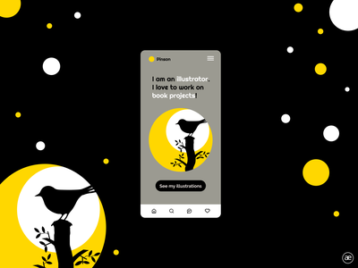 Illustrator homepage | mobile app daily ui homepage graphic design yellow black bird app flat minimal design ux ui mobile ui mobile app design mobile app mobile web black and white dark figma