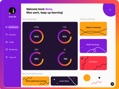 Dashboard redesign | E-learning platform education layout interface dashboard website design web design ui ux user interface ui design ux ui digital art creative gradient minimal colorful graphic design design web figma
