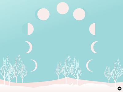 Winter illustration | Moon cycle moon cycle snow white winter landscape winter digital art minimal moon gradient illustration digital illustration graphic design web design figma