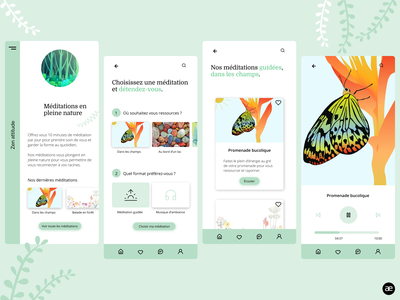 Meditation app | Nature immersion mobile app design mobile app mobile ui layout layout design meditate zen butterfly application app design app meditation app meditation ui minimal digital illustration graphic design web design figma