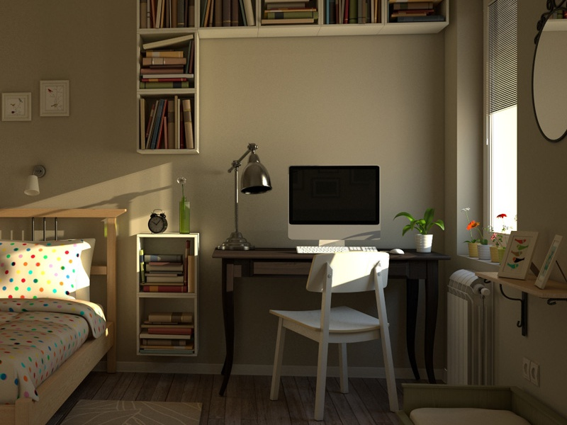 Apartment Bedroom 3d furnishing ikea interior design light maya modeling vray shaders colour textures