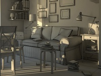 3d Living Room Wireframe