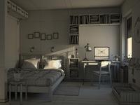 3d bedroom wireframe