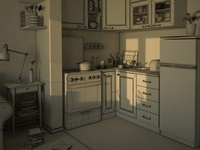 3d Kitchen Wireframe