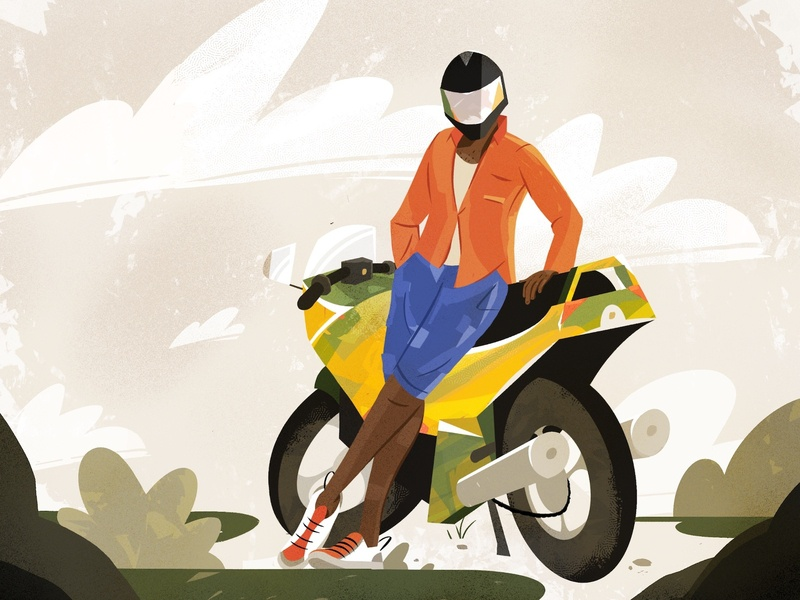 Pratice Makes Perfect bike motorcycle motorbiker illustration character