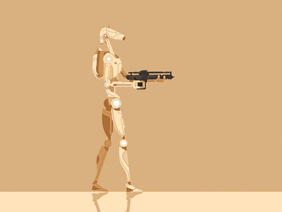 Battle Droid's Are Silly walk cycle fall illustration character 2d animation fire shoot gun robot droid battle star wars