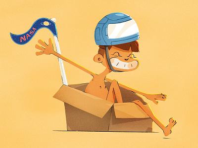 Box Kid nasa character illustration space child kid