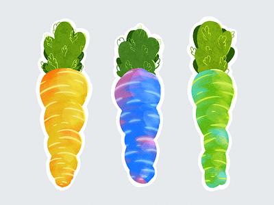 Carrots rainbow gradient colourful illustration carrot