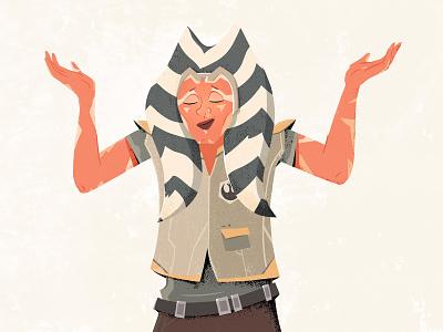 Ahsoka meh shrug ahsoka rebellion star wars illustration character