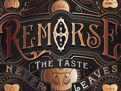 REMORSE label design print product lettering type logotype label spirits packaging illustration typography